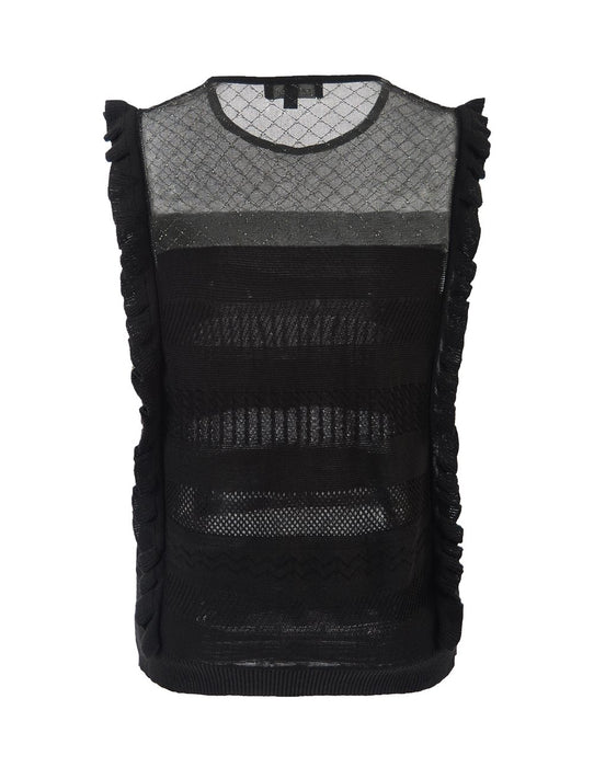 MARYLING Crew Neck Ruffles Sleeveless Slim Fit Knitted Vest