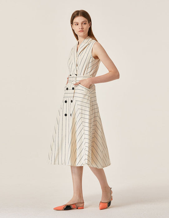 MARYLING Pinstripe Pattern Double Breast Sleeveless Suit Dress