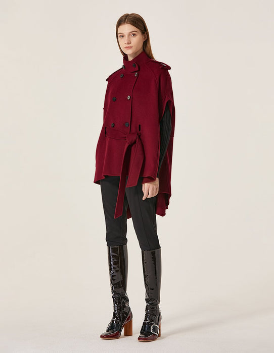 MARYLING Wool Blend Stand Neck Double-Breasted Cape Coat