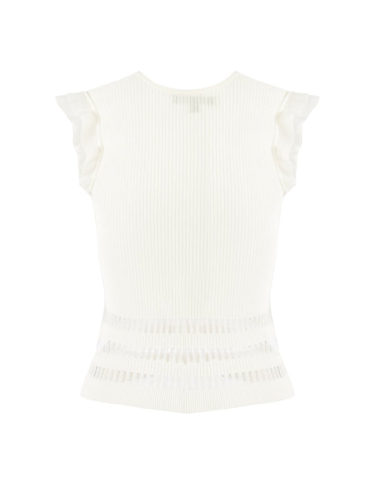 MARYLING V-Neck Ruffles Sleeveless Slim Fit Knitted Vest