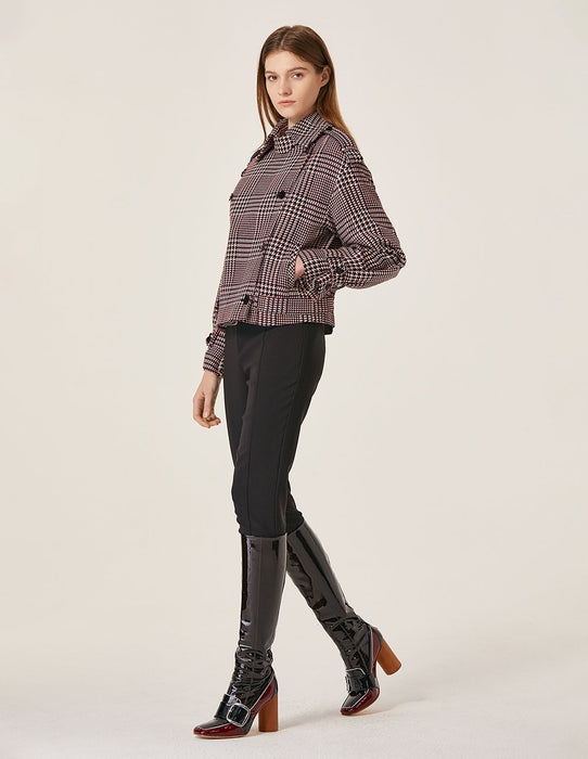 MARYLING Wool Blend Plaid Pattern Double Breast Short Coat