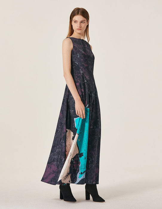 MARYLING Satin Hand Sweep Pattern Sleeveless A-Line Maxi Dress