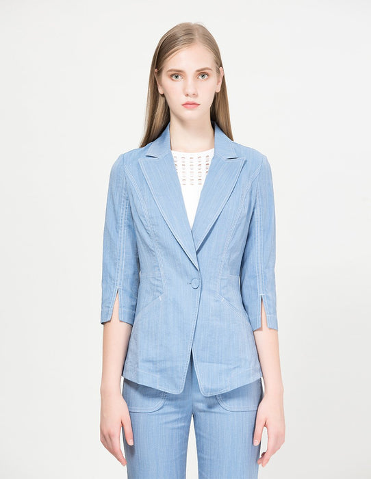 MARYLING Classic Lapel Single Button Half Sleeve Slim Fit Blazer