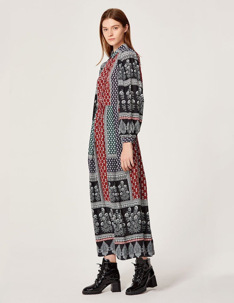 MARYLING Floral Ceramics Splicing Pattern Long sleeve Maxi Dress