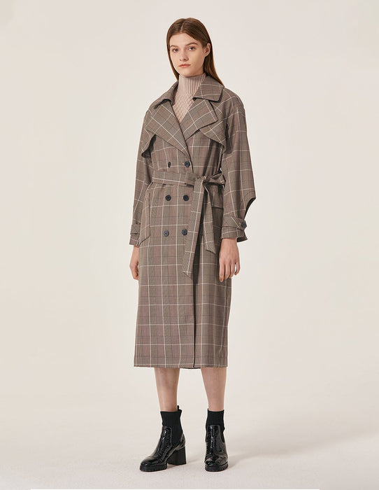 MARYLING Grid Pattern Large Collar Trench Coat