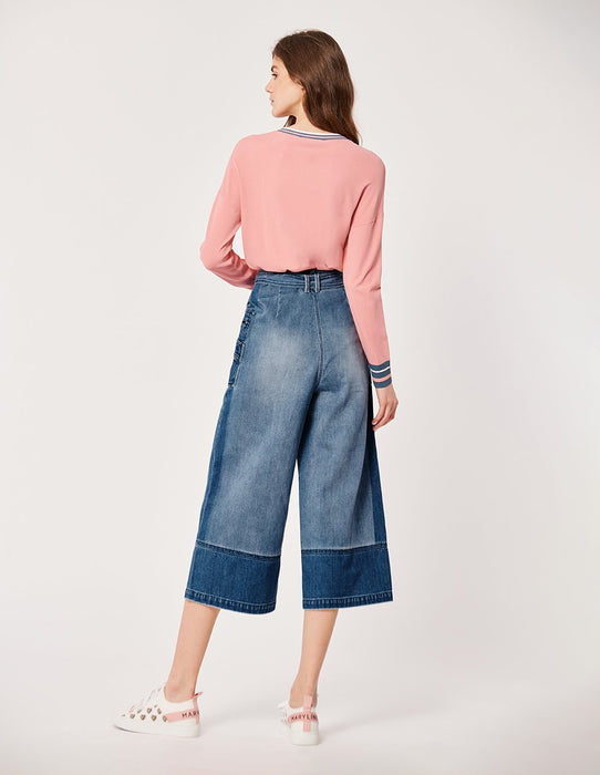 MARYLING Two-Tone Washed Crop Wide Leg Jeans