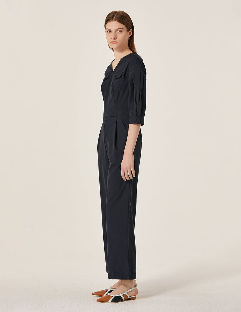 MARYLING Wool Blend Striped Jumpsuit