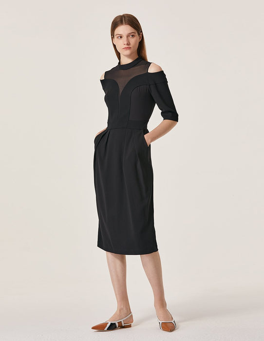 MARYLING Chiffon Splicing Cold Shoulder Deep V Stand Neck Pencil Dress