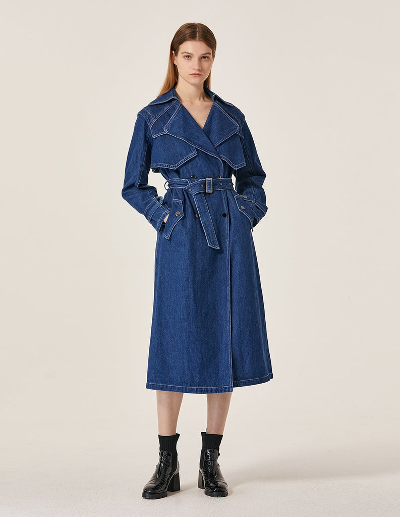 MARYLING Washed Denim Lapel Double Breast Belted Jean Trench Coat