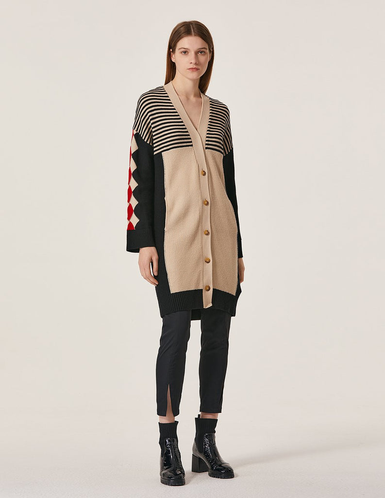 MARYLING Contrast Strip V Neck Button Up Long Cardigan