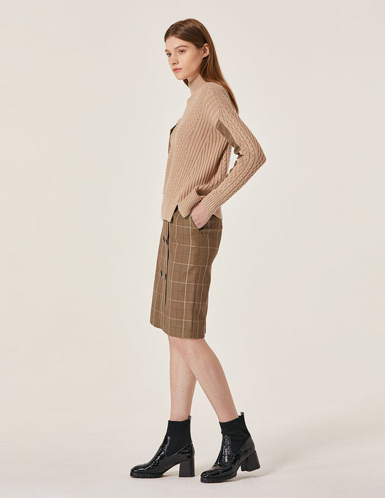MARYLING Plaid Pattern Double Button Tie Belt Pencil Skirt