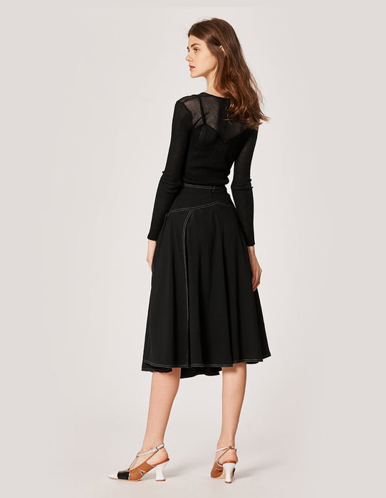 MARYLING Contrast Stitching Triacetate A-Line Skirt
