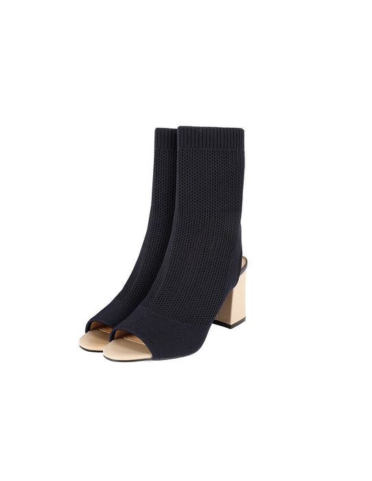 MARYLING Elastic Knit Peep Toe Block Heel Ankle Boots