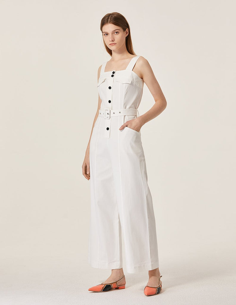 MARYLING Button Up Sleeveless Belted Wide Leg Sling Jumpsuit
