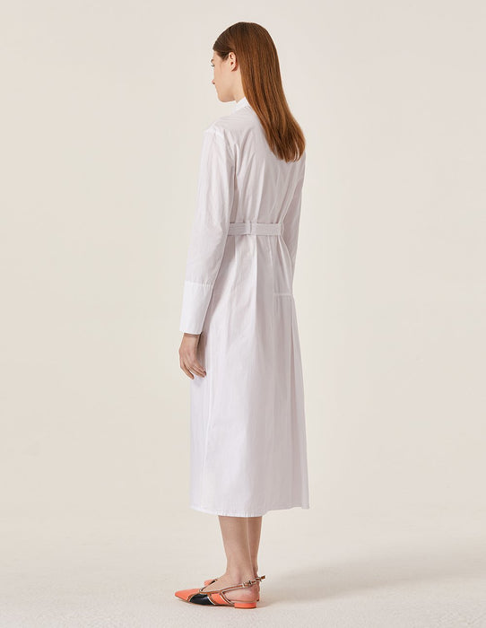 MARYLING Lapel Long Sleeve Self Belt Midi Shirt Dress