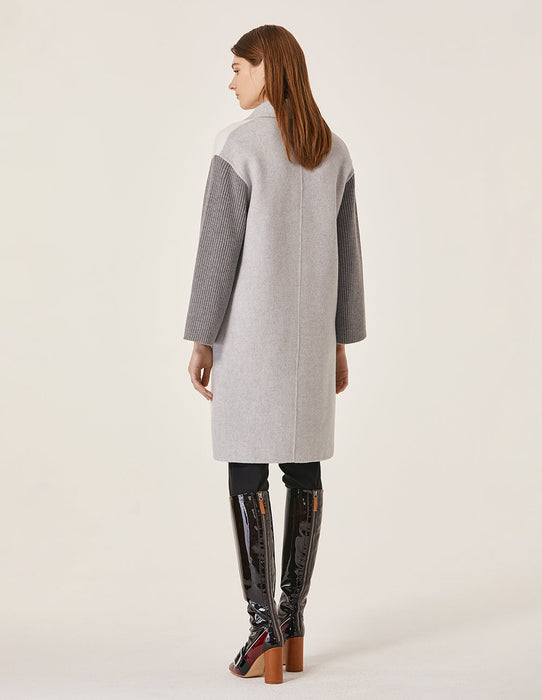 MARYLING Contrast Color Goat Blend Splicing Knit Sleeve Oversize Coat