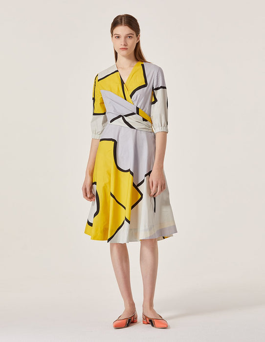 MARYLING Cotton Contrast Color V Neck Half Sleeve A-Line Midi Dress