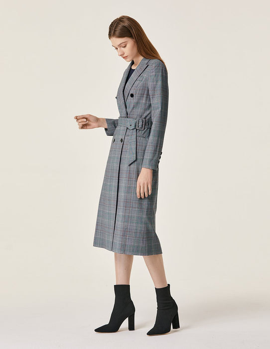 MARYLING Wool Blend Plaid Pattern Double Breast Belted Long Coat