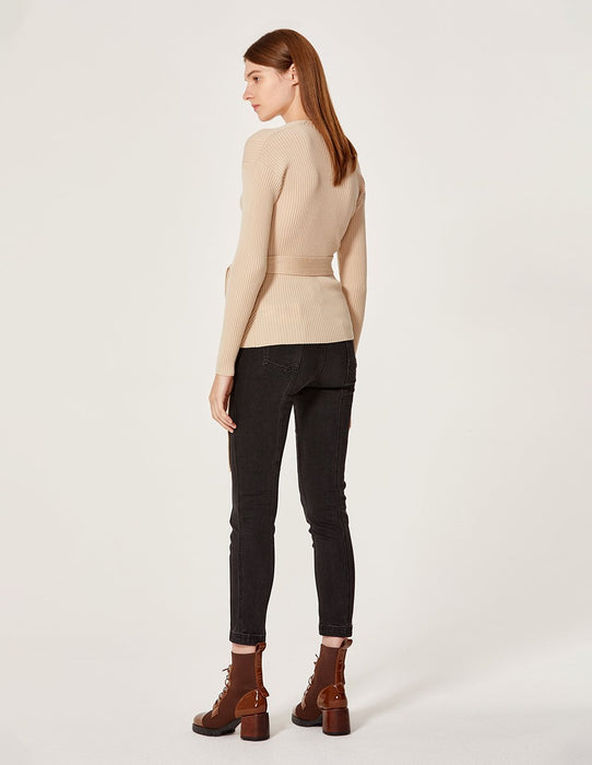 MARYLING Wool Rib Knit Slim Fit Wrap Sweater