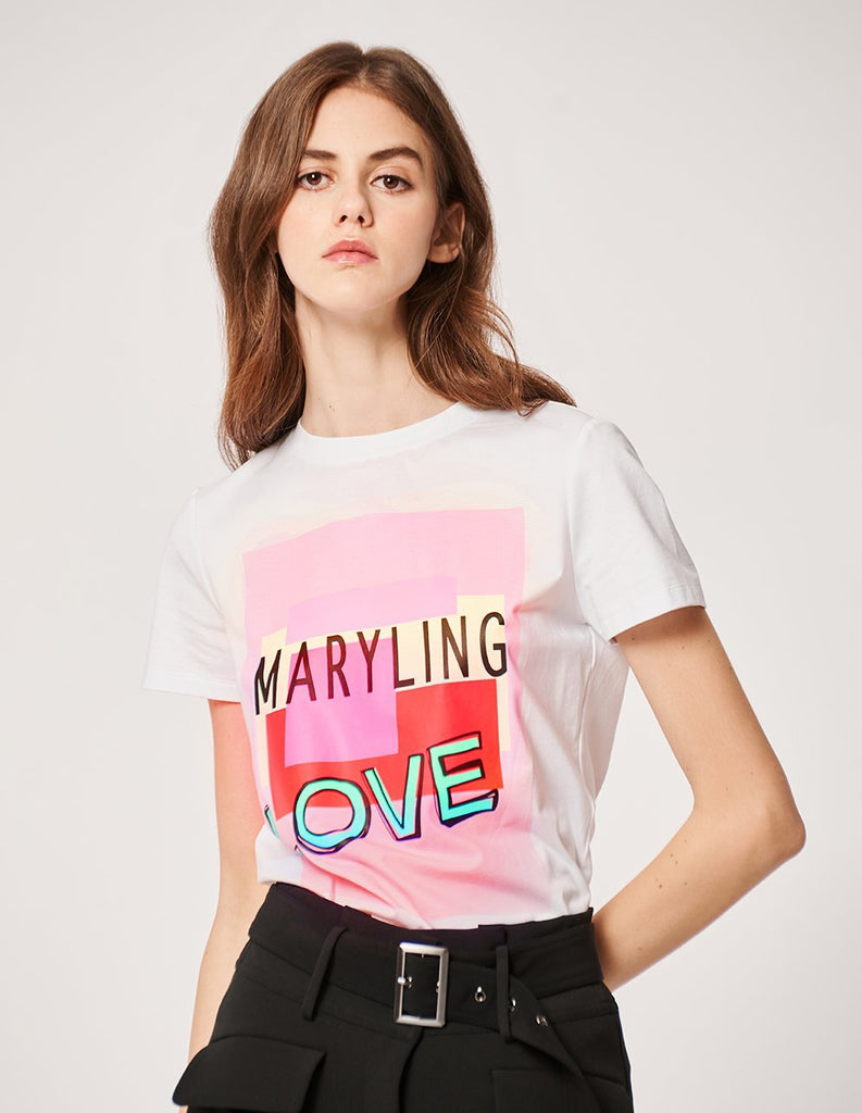 MARYLING Crew Neck Logo Print Short Sleeve T-Shirt