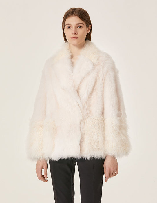 MARYLING Sheep Fur Lapel Teddy Leather Coat