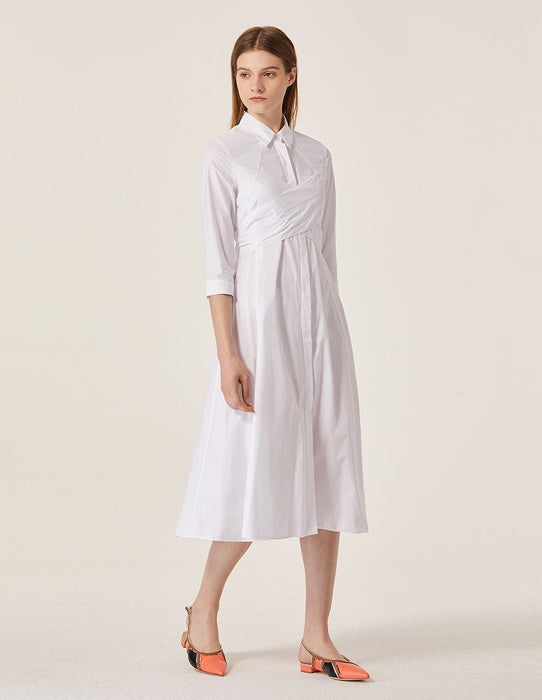 MARYLING Cotton Long Sleeve Slim Fit A-Line Midi Shirt Dress