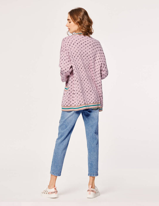 MARYLING MONOGRAM WITH STRIPES CARDIGAN