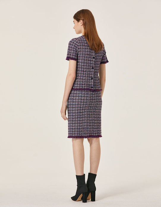 MARYLING Wool Contrast Plaid Piped Tassel Tweed Skirt