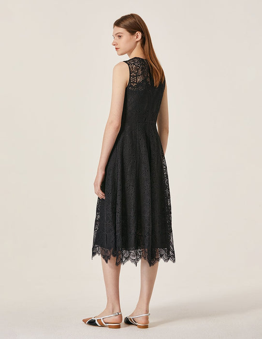 MARYLING Lace Crew Neck Sleeveless Long Dress
