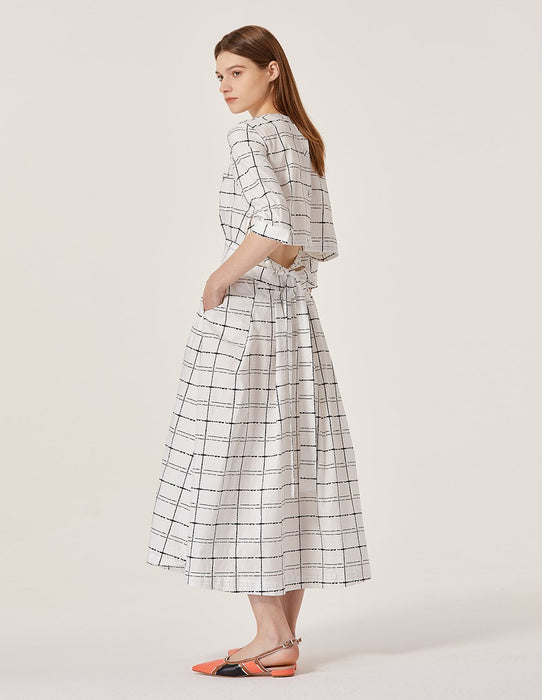 MARYLING Plaid Pattern Half Sleeve Open Back Midi Dress