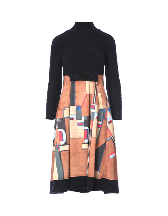 Ribbed panel dress with abstract print (5561345147040)