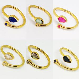 Double Gemstone Gold Vermeil Sterling Silver Ring