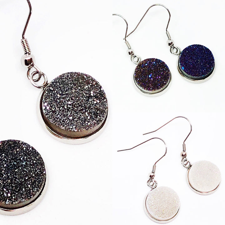Genuine Quartz Druzy Dangle Earrings