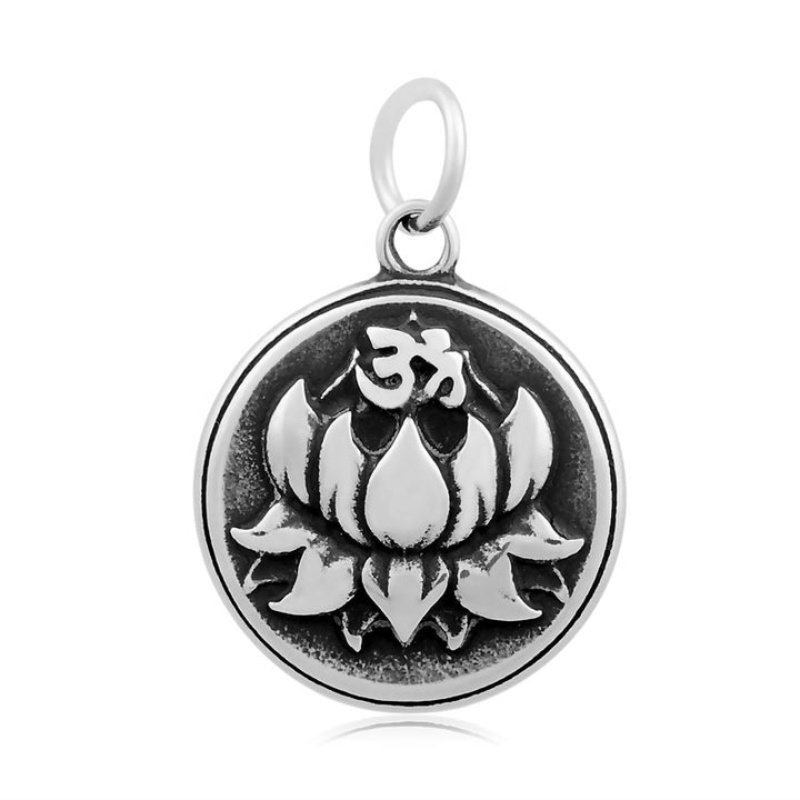 Om Lotus Blossom Charm Me Stainless Steel Necklace