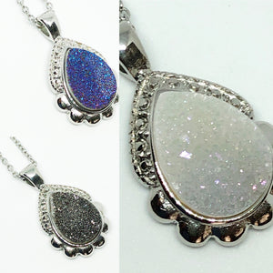 Genuine Quartz Druzy Classic Teardrop Necklace