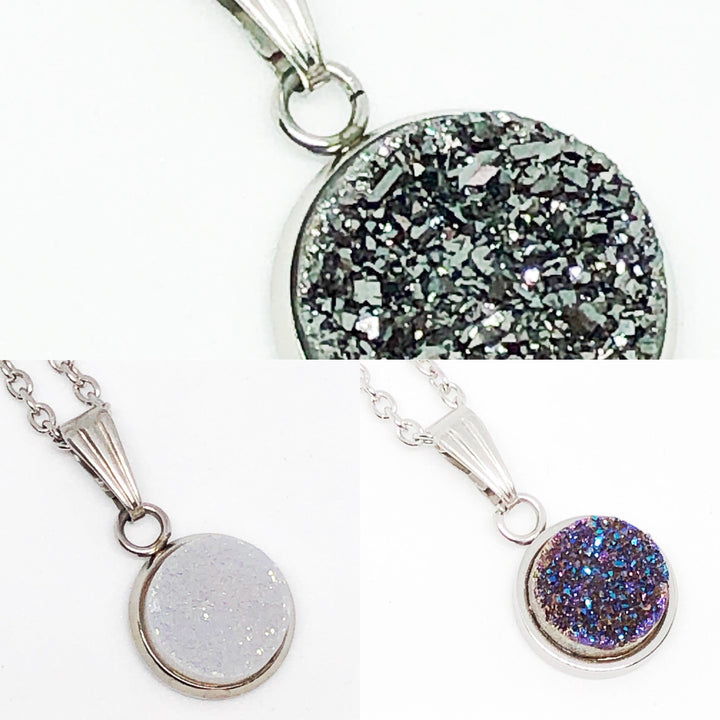 Genuine Quartz Druzy Pendant Necklace