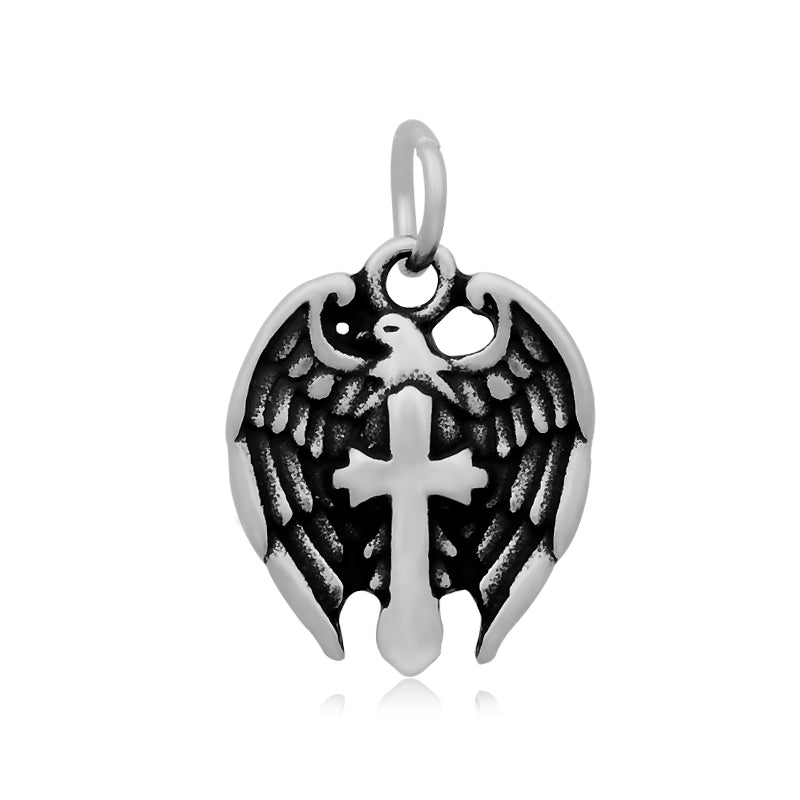 Cross With Dove Wings Charm