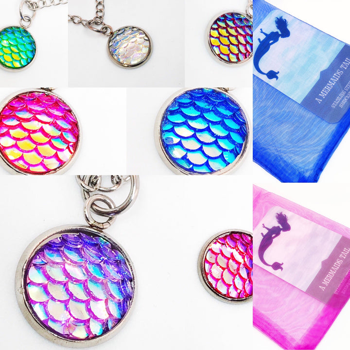 A Mermaids Tail Resin Fish Scales Necklace