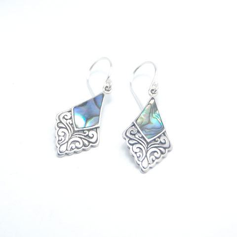 Rhombus Paua Sterling Silver Dangle Earrings
