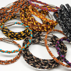 Boho Color Hemp and Leather Braid Bracelet