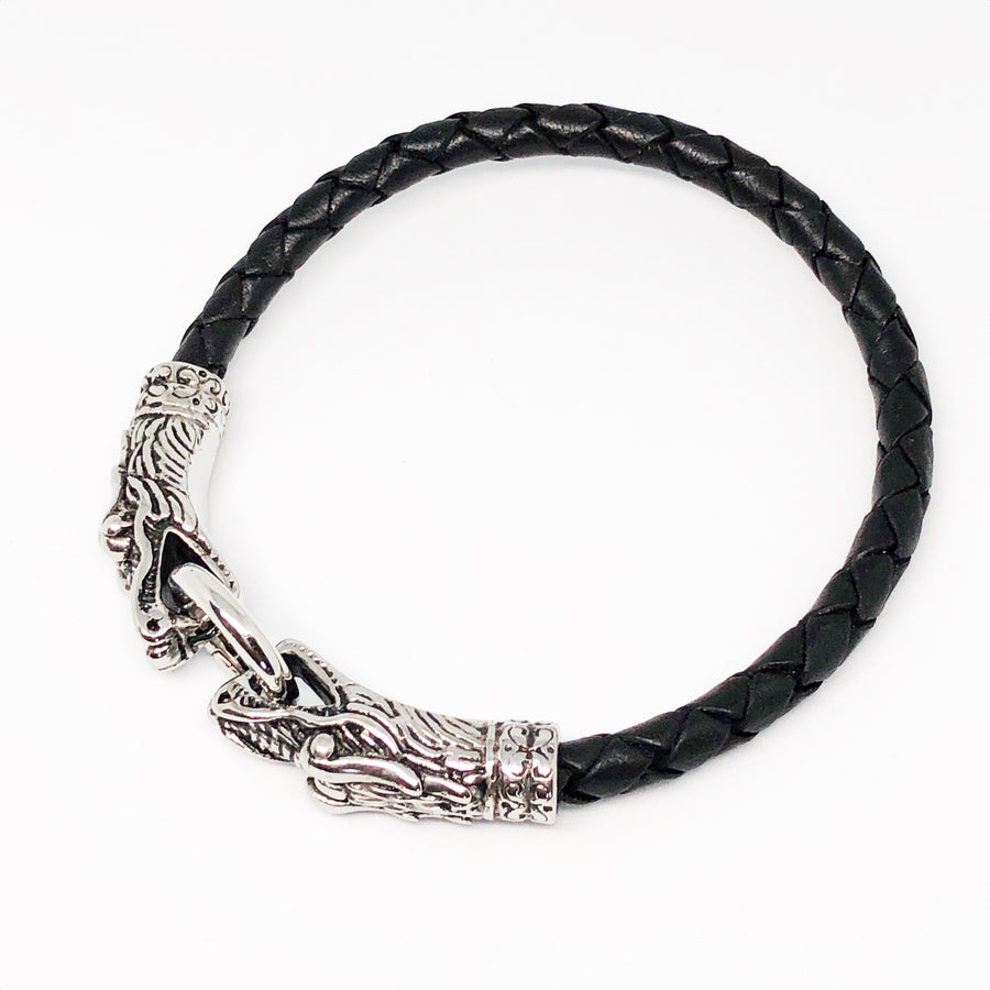 Dragon Duo Stainless Steel Bolo Leather Bullmaster Bracelet