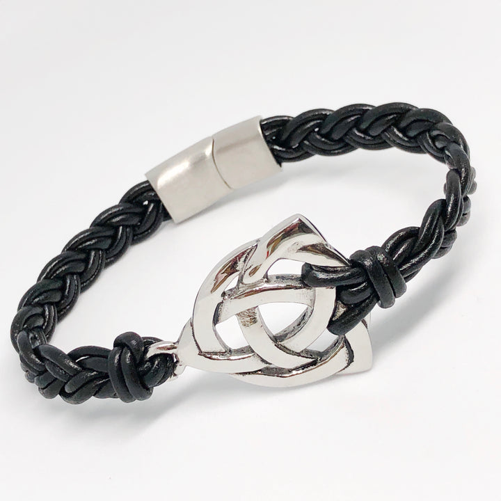 Holy Trinity Celtic Knot Stainless Steel Braided Leather Bracelet
