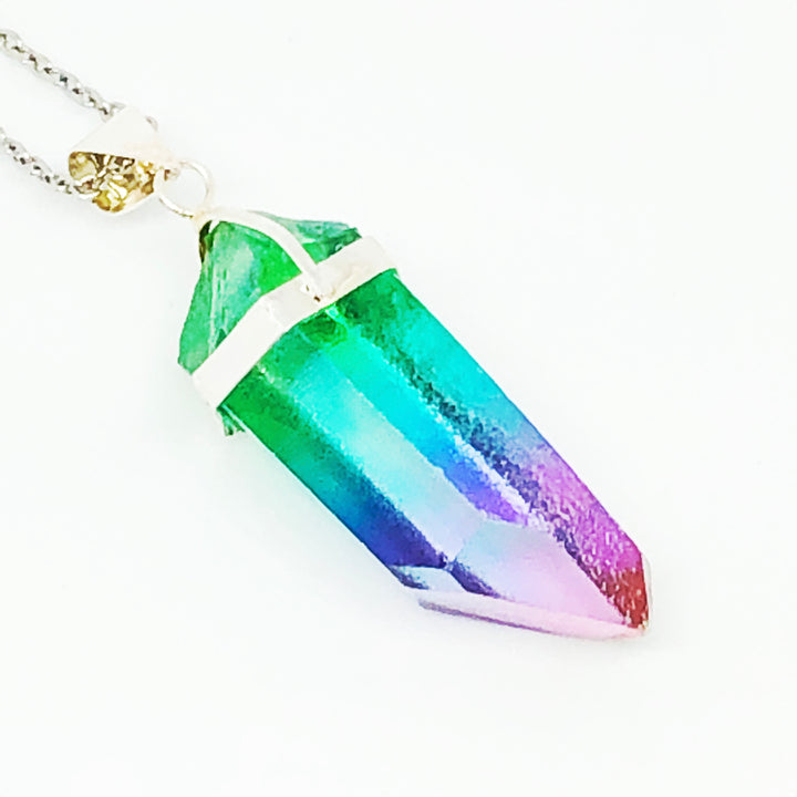 Popsicle Quartz Stainless Steel Necklace