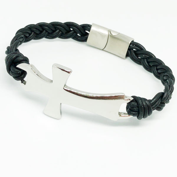 Classic Cross Braided Leather Bracelet