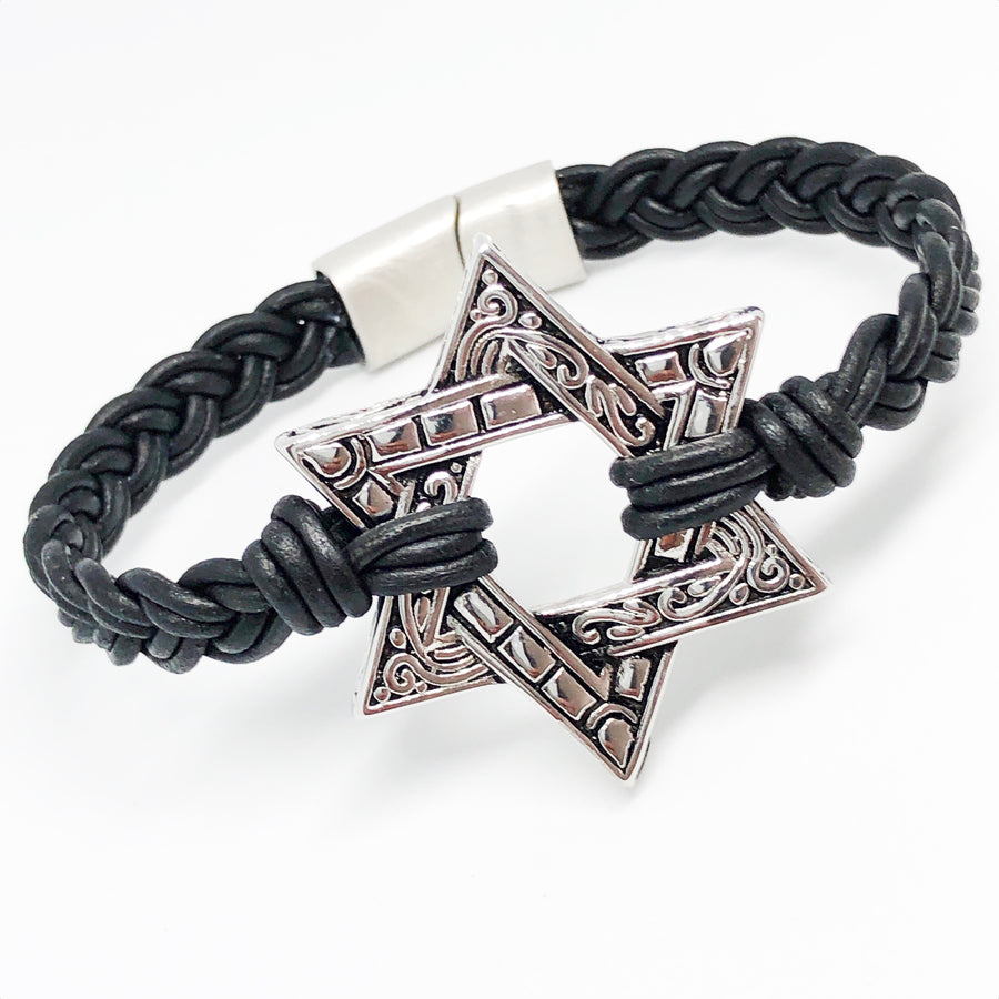 Star Of David Braided Leather Bracelet