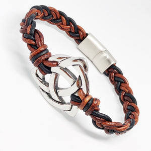 Holy Trinity Celtic Knot Braided Leather Bracelet