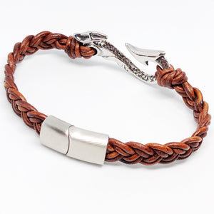 Maui Fish Hook Braided Leather Bracelet