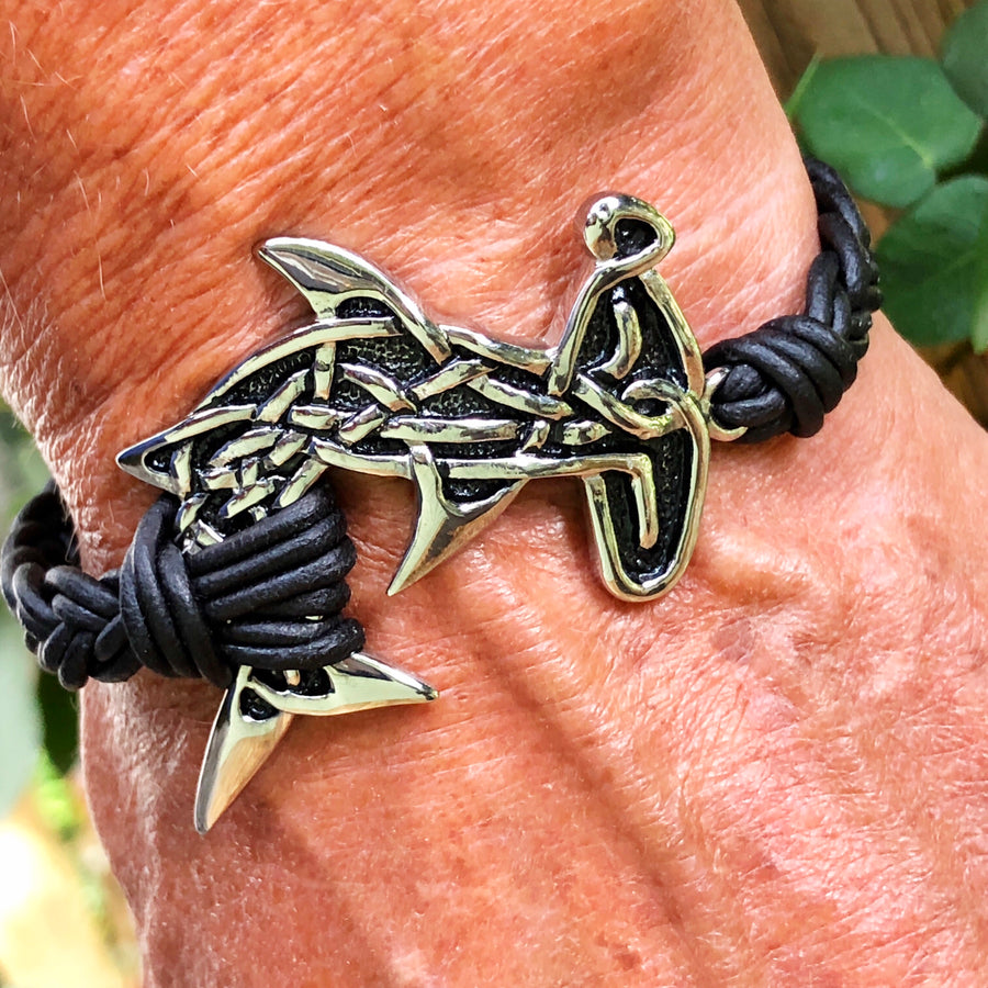 Hammerhead Shark Braided Leather Bracelet