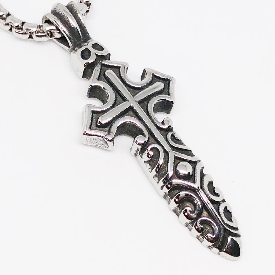 Saber Cross Stainless Steel Necklace