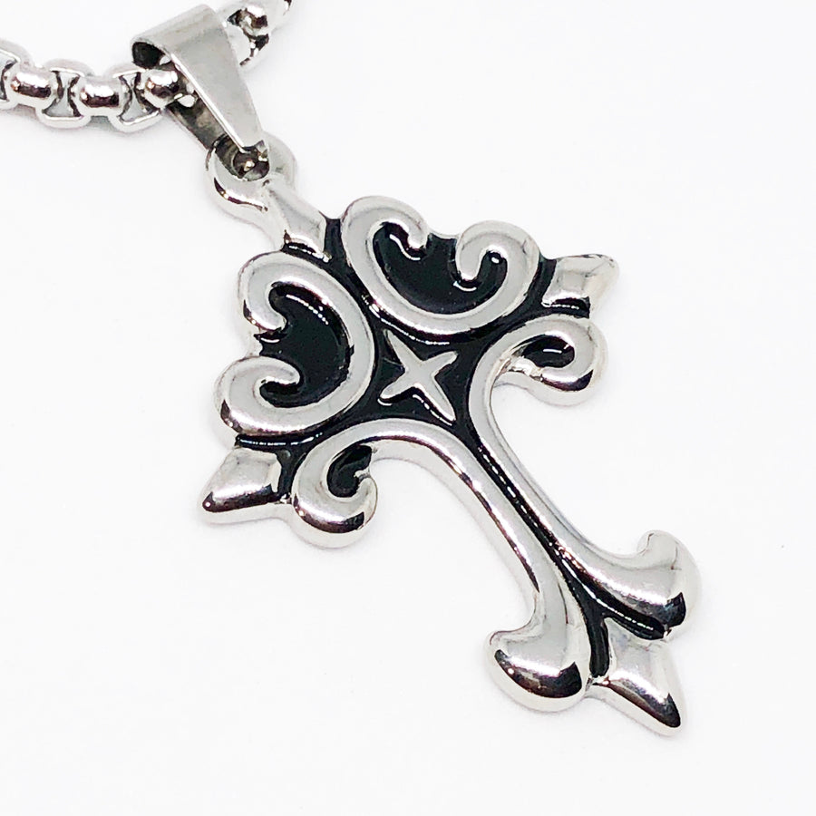 Ornate Cross Stainless Steel Necklace